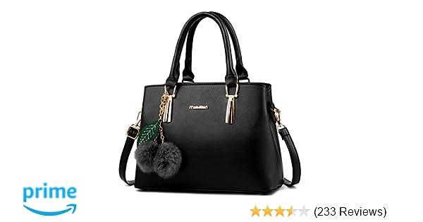 1c40ba825e35 Amazon.com  Dreubea Women s Leather Handbag Tote Shoulder Bag Crossbody  Purse Black  Shoes