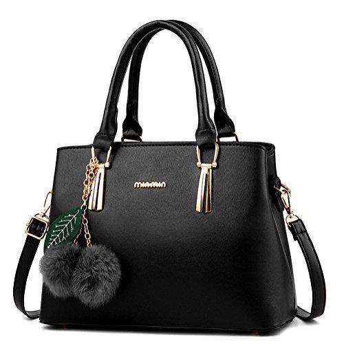 Dreubea Women's Leather Handbag Tote Shoulder Bag Crossbody Purse Black