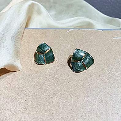 925 Silver Plated Vintage Stud Earrings for Woman and Girls Retro Design Triangle Green Stud Earrings