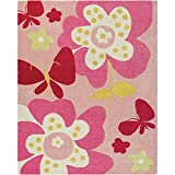 Surya Chic CHI-1007 Contemporary Hand Tufted 100% Poly-Acrylic Baby Pink 8' x 10' Floral Area Rug