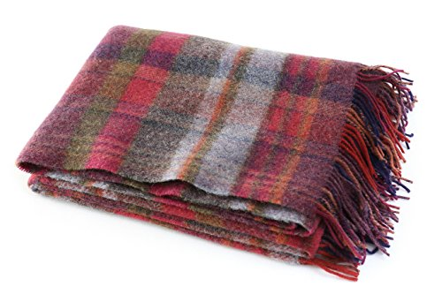 "John Hanly Plaid Wool Blanket Throw 100% Wool Soft 54"" Wide x 72"" Long Fringed Burgundy Plaid Made in Ireland"