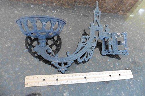 Vintage wall mounted oil lamp lantern holder arm swivel bracket cast iron plant