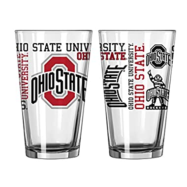 NCAA Ohio State Buckeyes Spirit Pint Glass, 16-ounce, 2-Pack