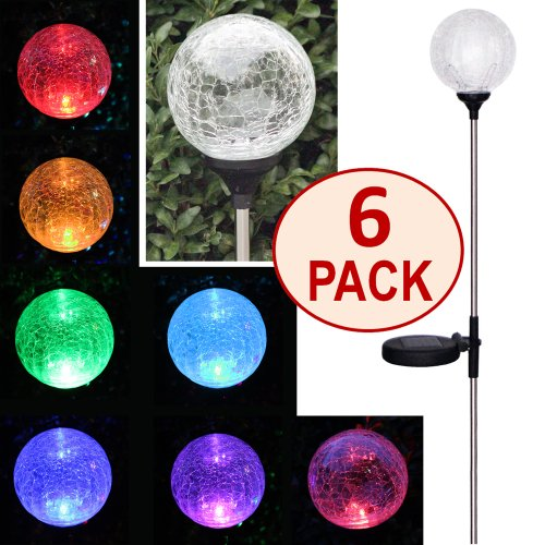 Color Changing Crackle Glass Ball Solar Light - 2