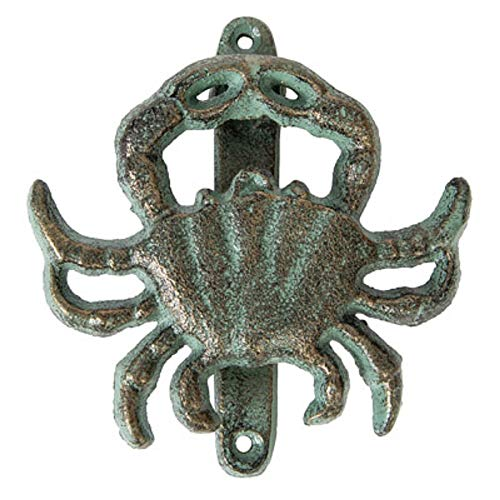 Cast Iron Crab Door Knocker Green with Gold Patina