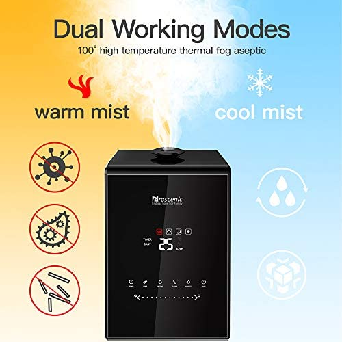 Proscenic 808C Smart Air Humidifier LED Display App Alexa Google Voice Control 5.3L Large Capacity Warm And Cool Mist Customized Humidity Levels Mist