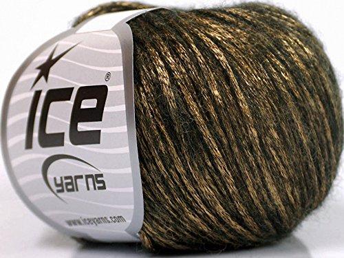 - Rock Star, Gold, Black, Metallic Shine, Soft Nylon Merino Wool Acrylic Blend Yarn, 50 Gram