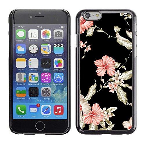 TopCaseStore / caoutchouc Hard Case Housse de protection la Peau - Floral Wallpaper Black Pink Garden Flowers - Apple iPhone 6 Plus 5.5