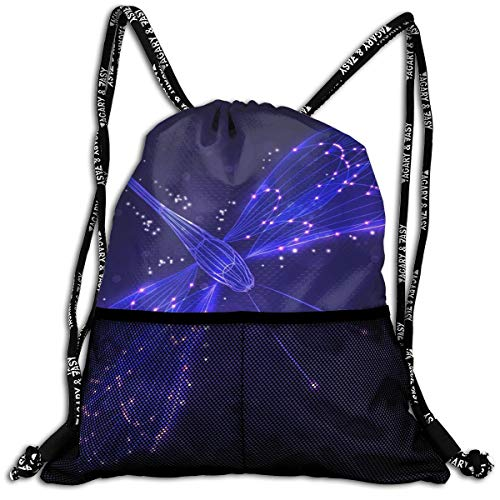 Dragonfly Unisex Drawstring Bag Lightweight Gym Bags Yoga Outdoors Sports Travel Backpack ()