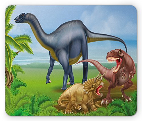 Dinosaur Mouse Pad by Ambesonne, Different Types of Dinosaurs Natural Jungle Environment T-Rex Triceratops Cartoon, Standard Size Rectangle Non-Slip Rubber Mousepad, Multicolor (Jungle T-rex)