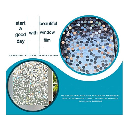 Dot Window Film Circles Pattern Glass Tinting Film Doors Window Covering Window Clings Decorative Window Decorative Film for Sliding Door Sun Room Home Office 17.7in. by 78.7in. (45 x 200CM by Kitten Fishing (Image #3)