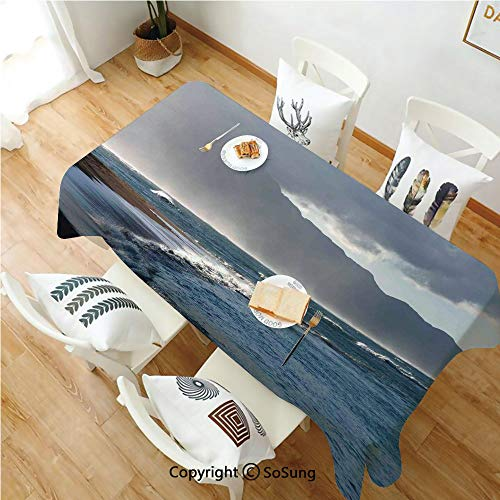 SoSung Mystic House Decor Rectangle Polyester Tablecloth,Baldwin Beach and Clouds Nature Beach Picture,Dining Room Kitchen Rectangle Table Cover,52W X 72L inches,Gray Navy