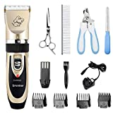 Sminiker Dog Clippers Low Noise Pet Clippers Rechargeable Cordless Dog Trimmer Pet Grooming Clippers Professional Dog Shaver Detachable Blade with 4 Comb Guides for Small Medium Large Dogs Cats and Other House Animals, Pet Grooming Kit