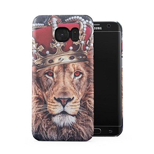 Jungle King Queen Lion Trill Gold Tumblr Dark Blue Marble Plastic Phone Snap On Back Case Cover Shell Compatible with Samsung Galaxy S7 Edge
