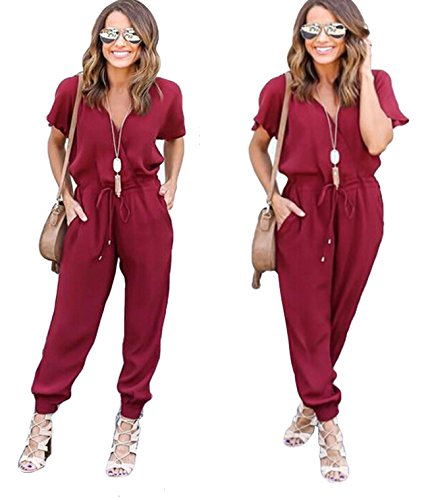 [Women Casual Short Sleeve Drawstring Rompers Jumpsuits Wine S] (Sexy Jumpsuit Costumes)