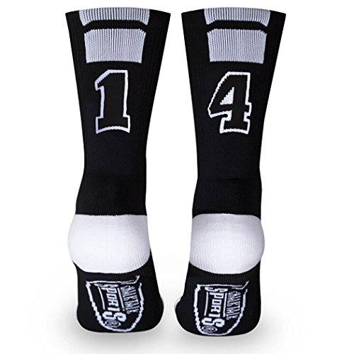Custom Team Number Crew Socks | Athletic Socks by ChalkTalkSPORTS | Black | 14