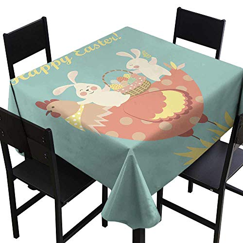 SKDSArts Table Cover Tablecloth Easter Bunnies Chicken and Easter eggs1,W54 x L54 Square Tablecloth -