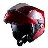 #9: 1Storm Motorcycle Modular Full Face Helmet Flip up Dual Visor Sun Shield: HB89 Glossy Red