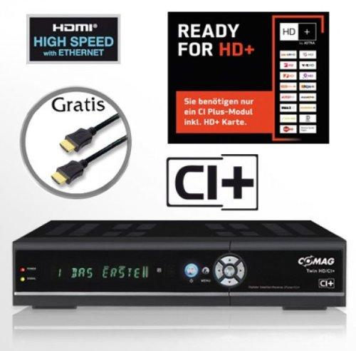 COMAG digitaler Satelliten Receiver Twin-Tuner HDTV mit 1000 GB (1TB) Festplatte (CI+, HDMI, USB 2.0, PVR ready, 1080p (Senderabhängig), 1080i, 720p, 576p) inkl. Qualitäts-HDMI-Kabel für HD+ schwarz