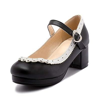 Femmes Jrenok Haut Épais Bowknot Chaussures Coeur Talon Patchwork UwRwBrq