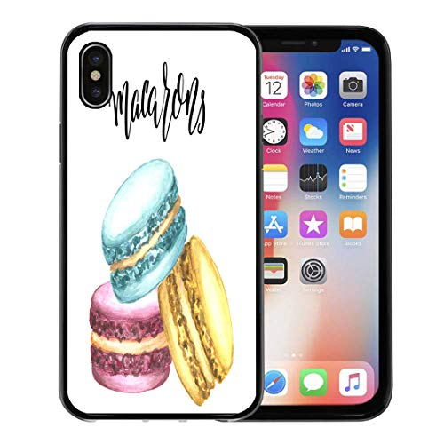 Semtomn Phone Case for Apple iPhone Xs case,Watercolor of Macaron Cakes Colorful Classic French Dessert Pink Blue Mint and Yellow Pastry Hand for iPhone X Case,Rubber Border Protective Case,Black ()