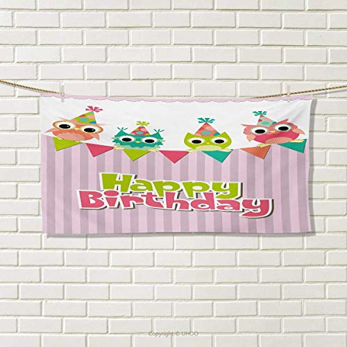 Chaneyhouse Kids Birthday,Hand Towel,Baby Owls Birds on Colo