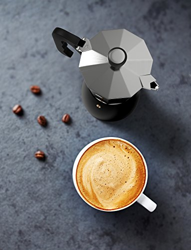 Vremi Stovetop Espresso Maker - Moka Pot Coffee Maker for Gas or Electric Stove Top - 6 Cups Demitasse Espresso Shot Maker for Italian Espresso Cappuccino or Latte - Black by Vremi (Image #2)