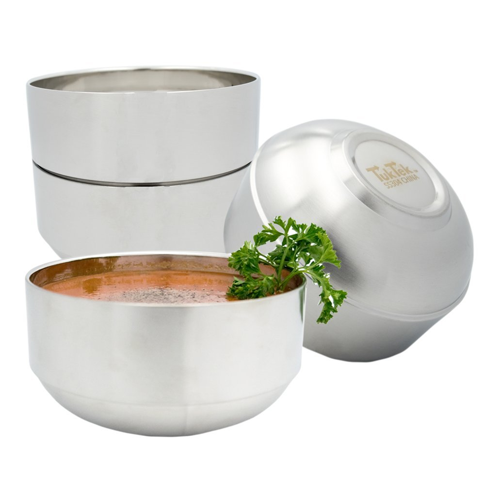 TukTek Kitchen Premium Set of 4 Large Stainless Steel Soup Bowls 24oz Double Layer Thermal Insulated 304 SS Bowls for Salad Cereal Soups Snacks (4)