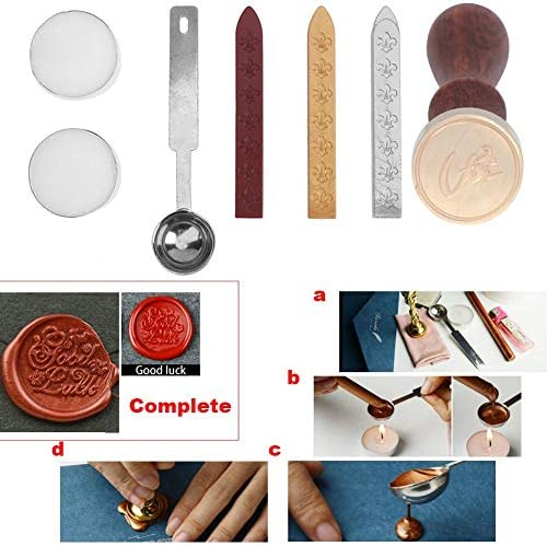 Ruikey Classic letter D Seal Wax Stamp Alphabet Wooden Handle Vintage Retro for Letter DIY Craft