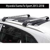 Fit for Hyundai Santa Fe Sport 2013-2018 Lockable Baggage Luggage Racks Roof Racks Rail Cross Bar Crossbar - Silver