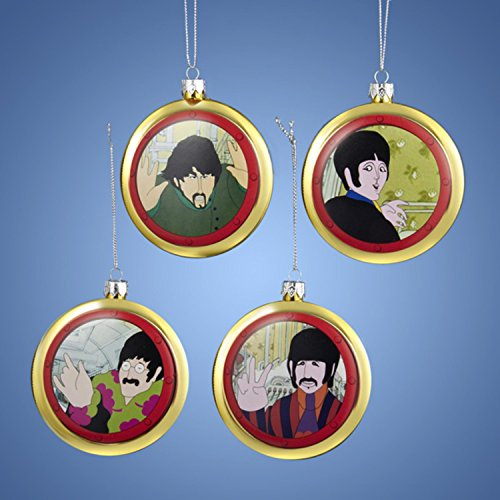 Kurt Adler Set of 4 The Beatles Yellow Submarine Decorative Disc Christmas Ornaments 3.5
