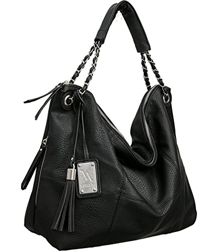 Vitalio Vera Sitges Black Large Hobo Handbag