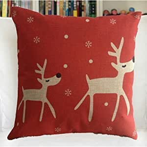 B Lyster shop Red Base Reindeer yyp178 Cotton & Polyester Soft Zippered Cushion Throw Case Pillow Case Cover