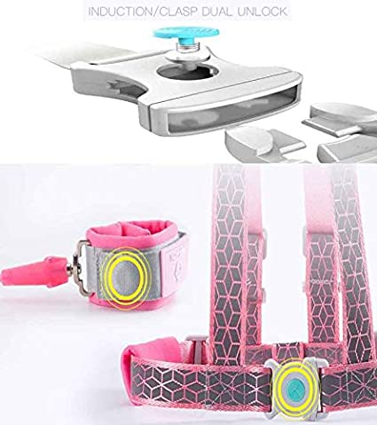 Blue Mini Miliya 2 in 1 Safety Harnesses,Anti Lost Wrist Link for Kids,3D Reflective Material with Induction//Clasp Dual Unlock Reins