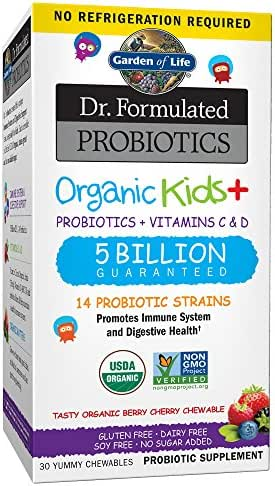 Garden of Life-Dr. Formulated Probiotics Organic Kids-Berry Cherry-Acidophilus and Probiotic Promotes Immune System,Digestive Health-Gluten,Dairy,Soy-Free,No Sugar Added-30 Chewables