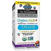 Garden of Life Dr. Formulated Probiotics Organic Kids+ plus Vitamin C & D – Berry Cherry – Gluten, Dairy & Soy Free Immune & Digestive Health Supplement, No Added Sugar, 30 Chewables (Shelf Stable)