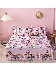 Feelyou Kawaii Butterfly Bed Sheet Cute Girls Fitted Sheet 3 Side Coverage 14 Inch Drop Dust Ruffle Bed Skirt 3 Piece 1 Falt Sheet & 2 Pillowcases (Twin)