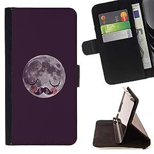 BullDog Case - FOR/LG OPTIMUS L90 / - / moon hipster night sleep moustache /- Monedero de cuero de la PU Llevar cubierta de la caja con el ID Credit Card Slots Flip funda de cuer