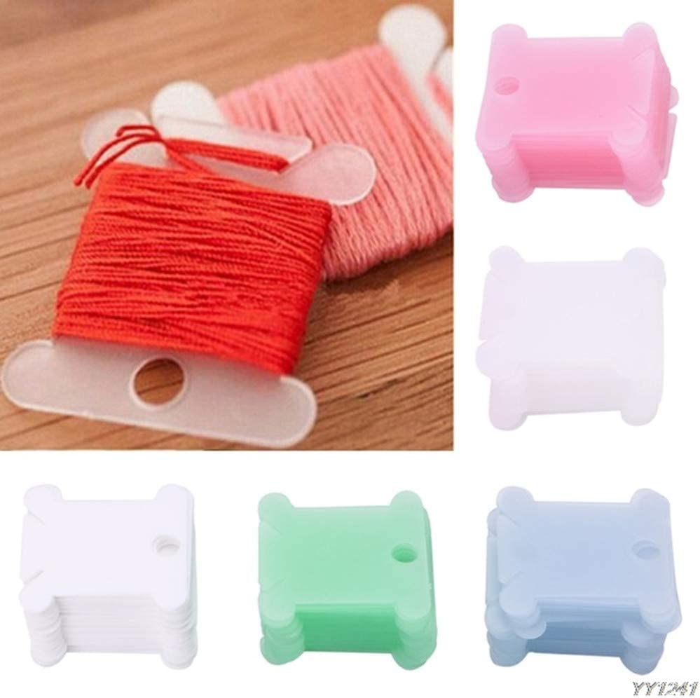 Card Thread Holder Embroidery Thread Cards Cross Stitch Bobbins with Floss Winder for Embroidery Floss Cotton Thread Organizer 120Pcs Plastic Bobbins