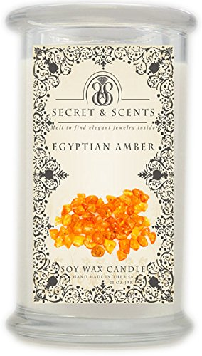 Elegant Jewelry in Soy Candle - Secret and Scents Highly Scented Soy Candles - Pick Your Scent and Jewelry Type (Egyptian Amber, Ring Size 8) Seasonal Scent