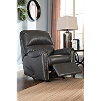 Ashley Furniture Signature Design - Lottie Rocker Recliner - Pull Tab Manual Reclining - Contemporary - Slate