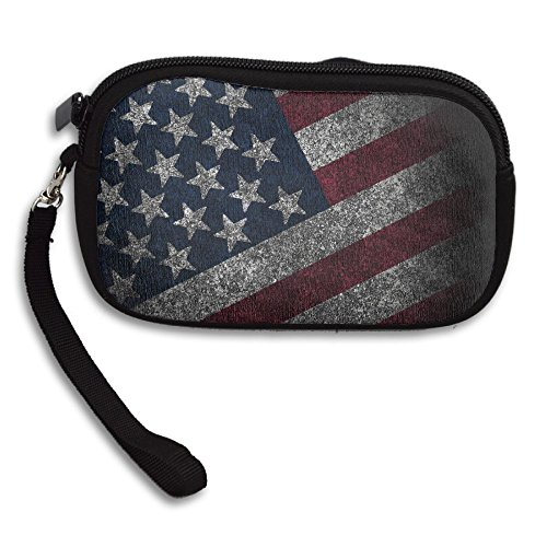 - ZGZGZ Womens Girls Vintage Retro American Flag Small Wallet Coins Wallet With Zipper