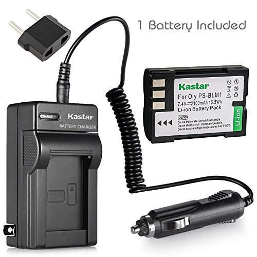 Kastar Lithium-Ion Battery and Charger with Car Adapter for Olympus EVOLT E-510 E-300 EVOLT E-330 EVOLT E-500 E-520 E-1 E-3 E-30 C-5060 C-7070 C-8080 Digital SLR Camera, Olympus BLM-1 BLM-01 PS-BLM1