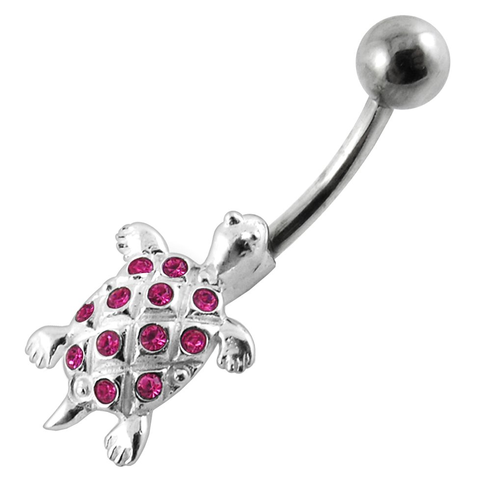 Fancy Turtle 925 Sterling Silver with Stainless Steel Belly Button Navel Rings