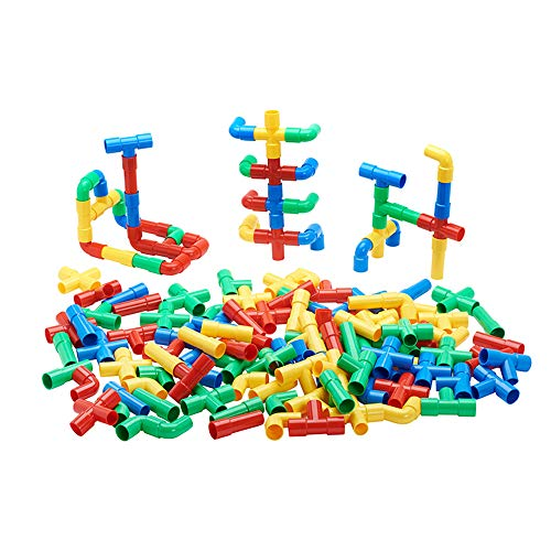 ECR4Kids Totally Tubular Pipes & Spout STEAM Manipulatives Building Block Set, Interlocking Educational Sensory Learning Toys for Children with Storage Container (160-Piece Set)