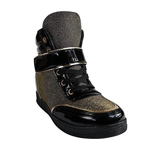 Damen Sneakers Keilabsatz Wedge Glitzer Turnschuhe STX
