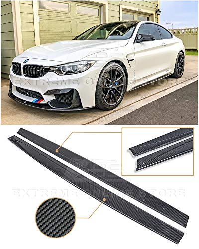 - Extreme Online Store Replacement for 2015-Present BMW F82 F83 M4 | EOS M-Performance Style Carbon Fiber Side Skirt Rocker Panels Extension SS-120-BKCF