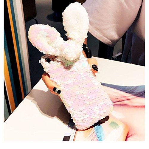 GR iPhone 6 & 6s Case-Bunte Pailletten Hasenohren Muster Schutzmaßnahmen zurück Fall ( SKU : Ip6g1845a )
