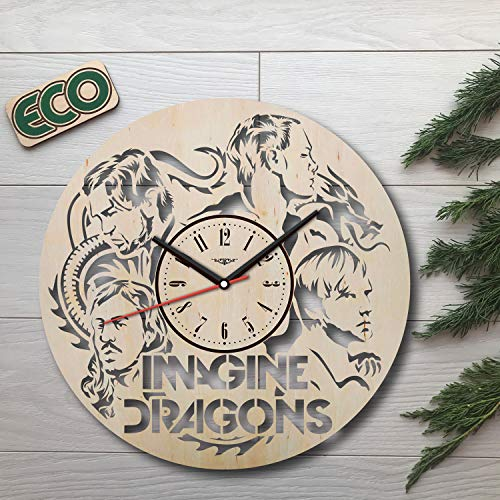 Imagine Dragons Wall Clock - Battery Operated Non Ticking Clocks - Wood Modern Wall Decor - Kitchen Office Nursery Decorative Clocks - Custom Gift Idea Birthday Christmas Hanukkah - Size 12 Inch