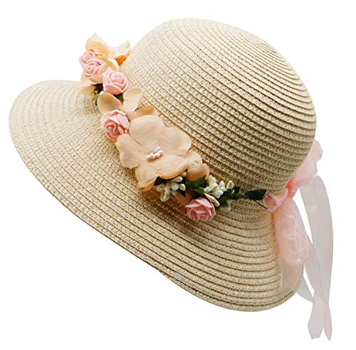 Lovful Womens Spring Summer Sun Protection Floppy Hats Travel Outdoor Beach Visor Straw Hats with Flower, Beige